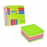 Cub notite autoadeziv, 76x76 mm, 5 culori neon/pastel, 400 file/buc, STICK'N