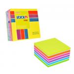 Cub notite autoadeziv, 76x76 mm, 7 culori neon/pastel, 400 file/buc, STICK'N