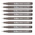 Marker pentru desen tehnic | proiectare, 0.1 mm, albastru | rosu, ARTLINE