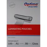 Folii pentru laminare, A5, 80 microni, 100 buc | set, OPTIMA