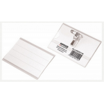 Ecuson orizontal cu clema si ac, 90x58 mm, 50 buc | cutie, OFFICE PRODUCTS