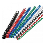 Inele | spire plastic indosariere, 8 mm, 45 coli, alb | negru, 100 buc/cut