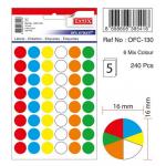 Etichete autoadezive 6 culori asortate, diametru 16 mm, 240 buc | set, TANEX