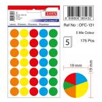 Etichete autoadezive 5 culori asortate, diametru 19 mm, 175 buc | set, TANEX
