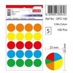 Etichete autoadezive 5 culori asortate, diametru 25 mm, 100 buc | set, TANEX
