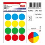 Etichete autoadezive 4 culori asortate, diametru 32 mm, 60 buc | set, TANEX