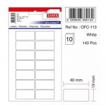 Etichete albe autoadezive, 14/A5, 19x40 mm, 140 buc | set, TANEX