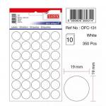 Etichete albe autoadezive, diametru 19 mm, 350 buc | set, TANEX