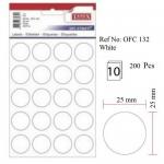 Etichete albe autoadezive, diametru 25 mm, 200 buc | set, TANEX