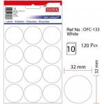 Etichete albe autoadezive, diametru 32 mm, 120 buc | set, TANEX