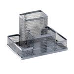 Suport articole birou, plasa metalica | mesh, 4 compartimente, MEMORIS