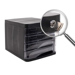 Suport pentru documente, 4 sertare, sistem blocare, negru, ARK