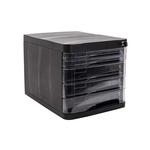 Suport pentru documente, 5 sertare, sistem blocare, negru, ARK