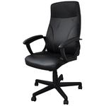 Scaun pentru birou, mecanism TILT, piele ecologica, negru, OFFICE PRODUCTS Crete