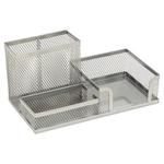 Suport articole birou, plasa metalica | mesh, 3 compartimente, argintiu, MEMORIS