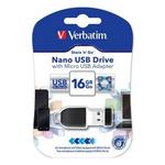 Stick USB 2.0 Drive + adaptor OTG, 16 GB, VERBATIM Store n Stay Nano
