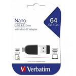 Stick USB 2.0 Drive + adaptor OTG, 64 GB, VERBATIM Store n Stay Nano