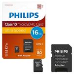 Micro SD Card 16 GB + adaptor PHILIPS SDHC U1 Class 10