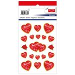 Set decoratiuni autocolante, inima + trandafiri, 38 buc | set, TANEX