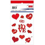 Set decoratiuni autocolante, inima + trandafiri, 24 buc | set, TANEX
