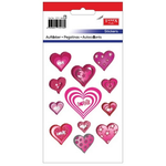 Set decoratiuni autocolante, inima cu stelute, 24 buc | set, TANEX