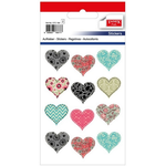 Set decoratiuni autocolante, inima, 24 buc | set, TANEX