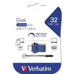 Memory stick USB-C USB 3.0, 32 GB, VERBATIM Dual Drive