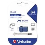 Memory stick USB-C USB 3.0, 64 GB, VERBATIM Dual Drive