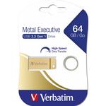 Memory stick USB 3.0, 64 GB, VERBATIM Metal Executive Drive Gold