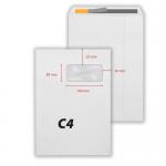 Plic C4, 229x324 mm, siliconic, alb, fereastra dreapta, 90 gr/mp, 25 buc/set