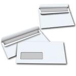 Plic DL, 110x220 mm, autoadeziv, alb, fereastra stanga, 80 gr/mp, 50 buc/set