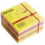 Cub notite autoadeziv, 75x75 mm, 4 culori neon, 450 file/buc, FORNAX