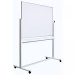 Tabla alba magnetica rotativa | whiteboard, 2 fete, rama aluminiu, 150x90 cm