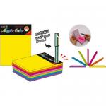 Cub notite autoadeziv, 101x76 mm, 7 culori neon, 280 file/buc, STICK'N Magic cube color