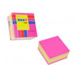 Cub notite autoadeziv, 51x51 mm, 4 culori neon+pastel, 250 file/buc, STICK'N
