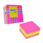 Cub notite autoadeziv, 76x76 mm, 4 culori neon/pastel, 400 file/buc, STICK'N
