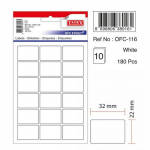 Etichete albe autoadezive, 18/A5, 22x32 mm, 180 buc | set, TANEX