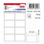 Etichete albe autoadezive, 8/A5, 34x52 mm, 80 buc | set, TANEX