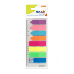Stick index autoadeziv | Film index plastic, 45x12 mm + 42x12 mm, 8 culori neon, 200 file | set, STICK'N