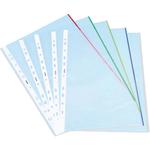 Folie protectie documente A4, cristal, 105 microni, margine color, 5 culori asortate, 25 bucati | set, NOKI