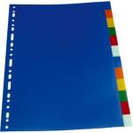 Separatoare plastic A4, 10 culori | set, OPTIMA
