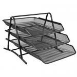 Set 3 tavite metalice | mesh pentru documente, negru