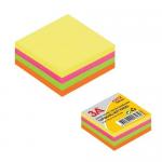 Cub notite autoadeziv, 75x75 mm, 4 culori neon, 300 file/buc, 3A