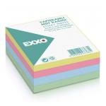 Cub notite autoadeziv, 75x75 mm, 4 culori pastel, 320 file/buc, EXXO