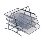 Set 3 tavite metalice | mesh pentru documente, argintiu, MEMORIS