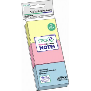Notes autoadeziv | post-it, 38x51 mm, 3 culori pastel, 3x100 file | set, STICK'N